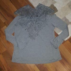 Tops - Boutique lace cold shoulder tunic blouse M